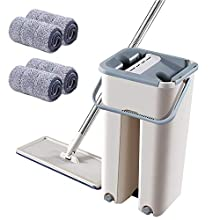 ALEENFOON Foldable Flat Mop and Buckets Set with 4 Squeegee Mop Pads Wash and Dry Flat Mop Cleaning System Floor Cleaner Mop for Cleaning Wooden Floor Laminate Tiles Stone Floors