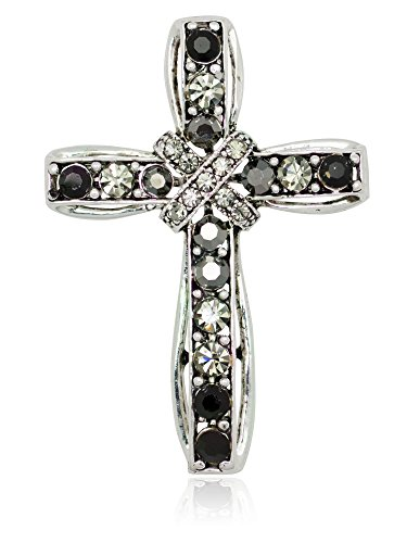 Akianna Silver-tone Swarovski Element Black Crystals Cross Pin Brooch -