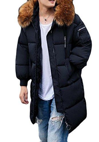 Puffer Casual Fur amp;S Hoodie amp;W M Long Coat Outwear Men's Down Black Jacket Collar gqPtHHw