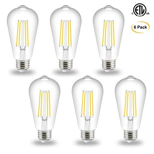 Edison LED Bulb 6 Watt, ST58 Vintage LED Filament Light Bulb, 4000K Daylight, E26 Medium Base Clear Glass Bulbs, Non dimmable, Pack of 6, by Comzler ...
