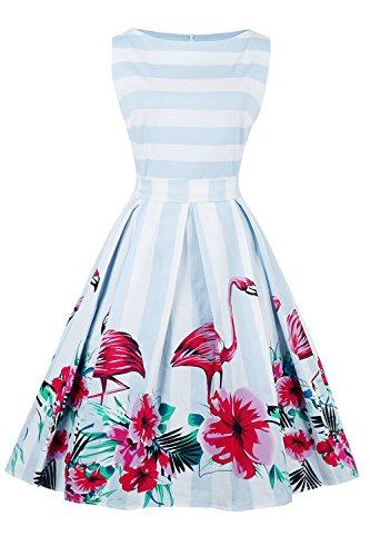 e7cd3f163070 Damen Vintage Flamingo Kleid Rockabilly Kleid Partykleid Cocktailkleid  Gestreift Abendkleid Knielang S-4XL 2181 Flamingo