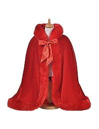 Remedios Winter Faux Fur Bridal Cape Wrap Flower Girl Kid's Coat Cover Wedding Cloak, Red, M