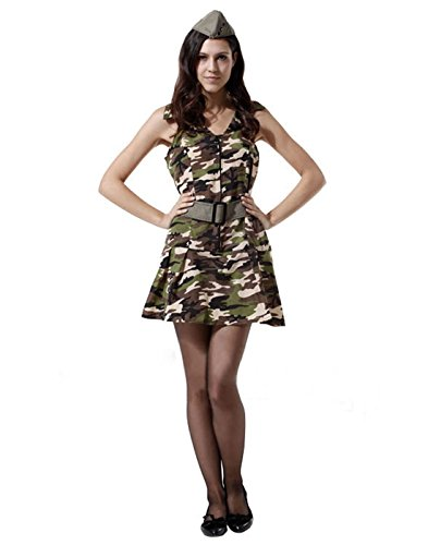 [HDE Women's Sexy Pin Up USO Military Army Girl Camo Dress Halloween Costume] (Pin Up Girl Costume Halloween)