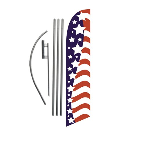(American Glory (stars left) 15ft Feather Banner Flag Set - INCLUDES 15FT POLE KIT w/HARDWARE)