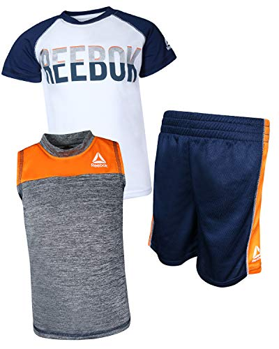 Reebok Boys\\\' 3 Piece Athletic T-Shirt, Tank Top, and Short, Navy, Size 4T\''