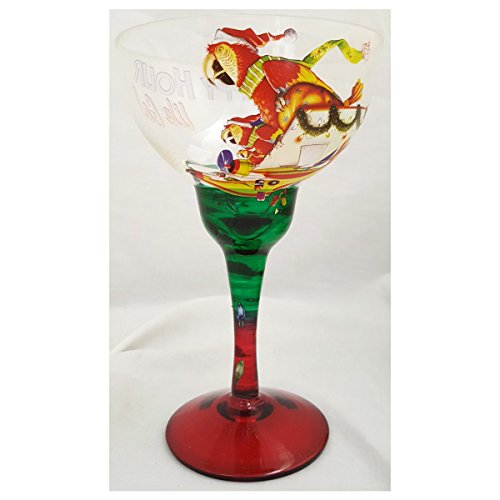 Lower Latitudes Cypress Home to Happy Hour We Go! Parrot Margarita Glass Hand Painted Stemware