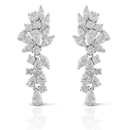 JanKuo Jewelry Rhodium Plated Bridal Floral Leaves Marquise Cubic Zirconia Chandelier Earrings