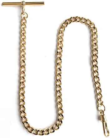 Desperado Yellow Gold Pocket Watch Albert Vest Chain with T Bar