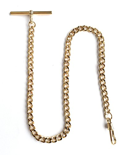 (Desperado Yellow Gold Pocket Watch Albert Vest Chain with T Bar)