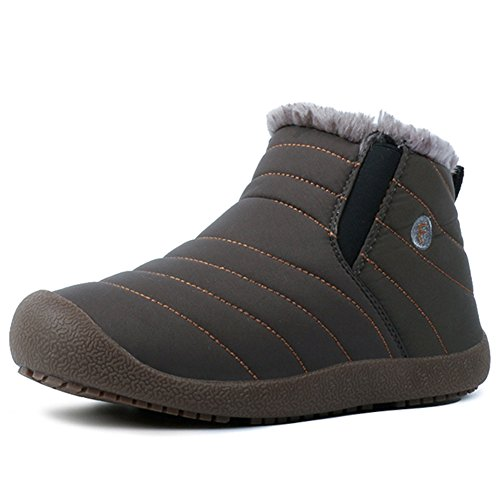 Outdoor Women On high Short Booties Boots Men HKR Ankle Waterproof Grey Lined Winter Fur Snow Slip Top wBCxq5v8