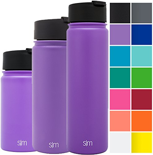 Simple Modern 14oz Summit Water Bottle + Extra Lid - Vacuum Insulated Stainless Steel Wide Mouth Hydro Travel Mug - Powder Coated Double-Walled Flask - Lilac Purple