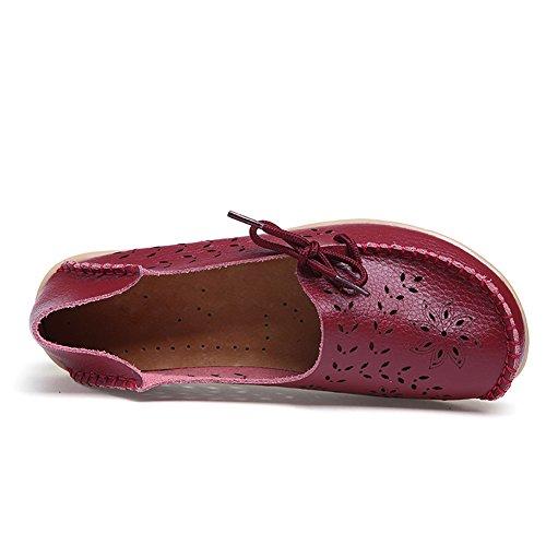 Blivener Kvinna Tillfälliga Spets-up Loafers Ihåliga Platta Skor Sommar Tofflor Mörkröd