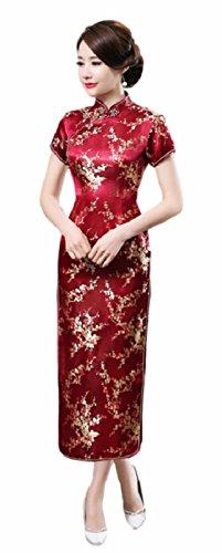 Chinese Dress Women's Cheongsam Retro Long Dragon Flower Printing National Costume Evening Prom Vintage Floral Flare Pencil Girls Frills Sleeves Junior Sleeveless Dressy Prime (XL, Wine red Plum)