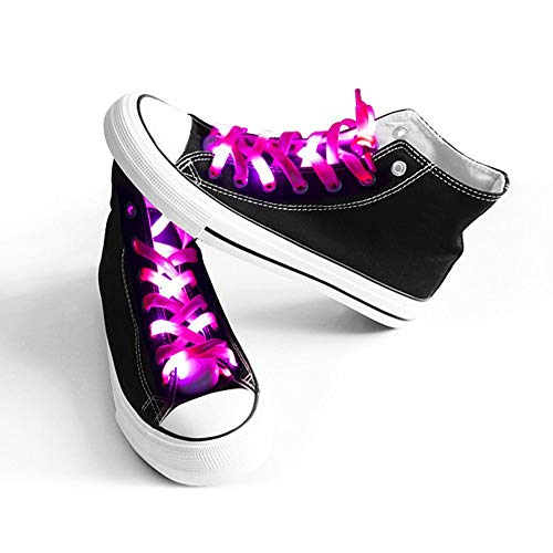 Light Up Shoelaces with 3 Flashing Modes Lighting for Night Party Hip-hop Dancing Cycling Hiking Skating Running (Pink)]()