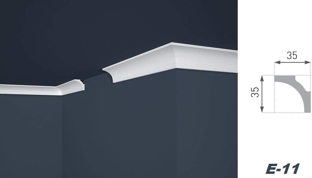 Profil/é en polystyr/ène Economiseur E-11 Blanc L/ég/èrement stable Moulure d/écorative moderne 40 m 35 x 35 mm