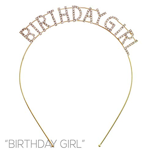 (Arsimus Sparkly Rhinestone Birthday Girl Party Headband (Gold))