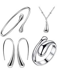 2d92b6b07 925 Sterling Silver Necklace Earring Ring Bangle Set for 4 Pcs