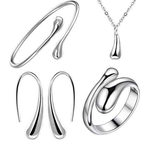 NYKKOLA 925 Sterling Silver Necklace Earring Ring Bangle Set for 4 Pcs (Silver)