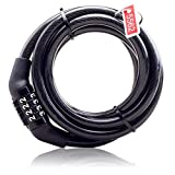 Baynne Multifunctional Bicycle Lock Anti-Theft Security Code Combination Lock Strengthen Steel Universal Mountain Bike Cable Lock