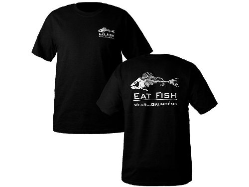 Grunden's Men's Eat Fish T-Shirt, Black, - T-shirt Fish Eat
