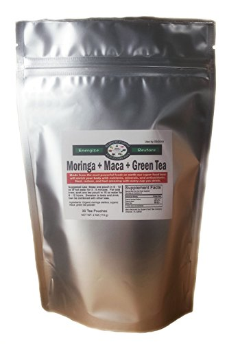 30 Moringa + Green Tea + Maca Root SuperFood Tea Bags | Original Blend • Top Nutrition & Benefits (Root 30 Capsules)