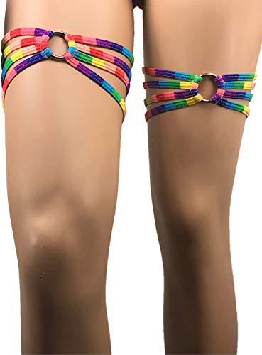 Exotic Dancewear Leg Wraps for rave Rainbow Thigh Wraps O ring Rave Outfit Festival Leg Gay Pride Parade Leg Garter Money Holder Gartini Leg Warmers