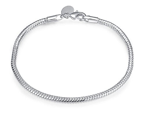 3MM 925 Sterling Silver Snake Chains Bracelet fit European Beads by NYKKOLA