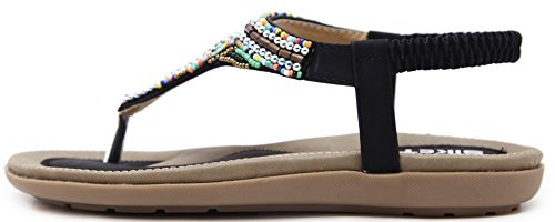 Vocni Women's Bohemian Beaded Ankle Strap Sandals Black dy8JnRt