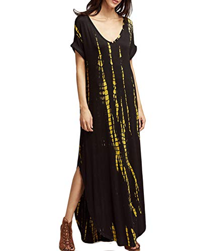Celmia Womens Casual Side Slit Long Dresses V Neck Short Sleeve Loose Maxi Dress Black XL