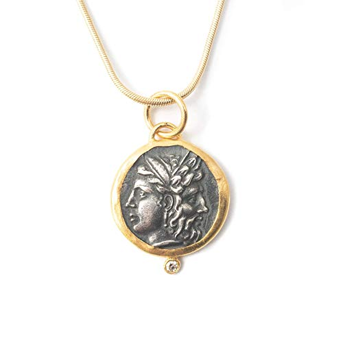 - 24kt Gold, Silver, Diamond Janus Roman Coin Necklace - 16 inches Long Museum Quality Replica Necklace by Miller Mae Designs