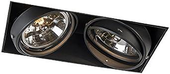 QAZQA Moderno Foco empotrado negro orientable 2 luces sin molduras ONEON 111 2 Trimless Acero Rectangular Adecuado para LED Max. 2 x 50 Watt