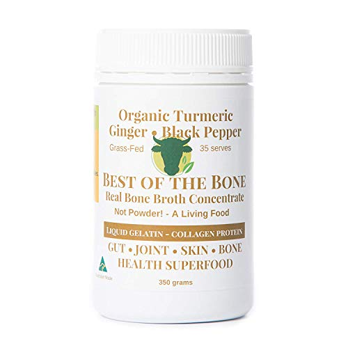 Premium Turmeric Beef Bone Broth Concentrate - 100% Sourced From AU Grass-Fed, Pasture-Raised Cattle - Healthier Skin & Nails, Healthy Digestion - No Hormones or Antibiotics - Bone Broth Collagen (Dehydrated Bone Broth)