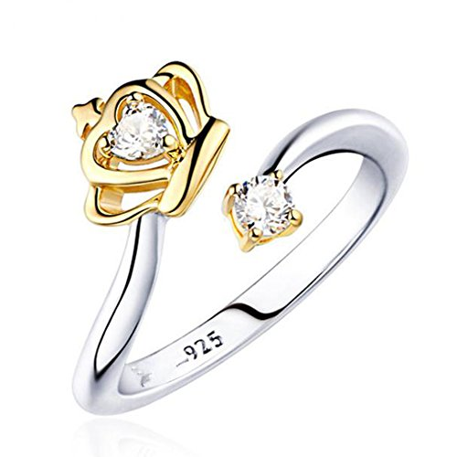 - Hosaire Ring Crown Diamond Ring Silver Plated Elegant Open Adjustable Ring for Girl Women Lady