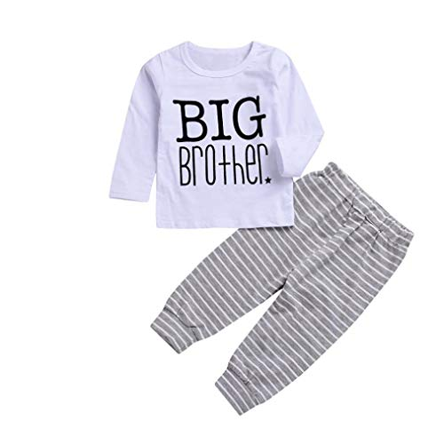 1-4 Years 2pcs Toddler Kids Baby Long Sleeve Tops Letter Big Brother T Shirt Clothes+Striped Pants Set Outfit (White, 4T(3-4 Years))