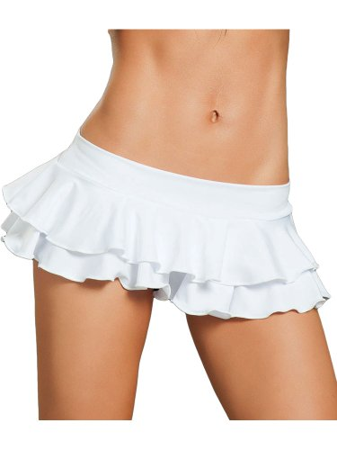Mix & Match Sexy White, Double Stitched, Layered Ruffle A-Line Pleated Mini Skirt - Medium/Large