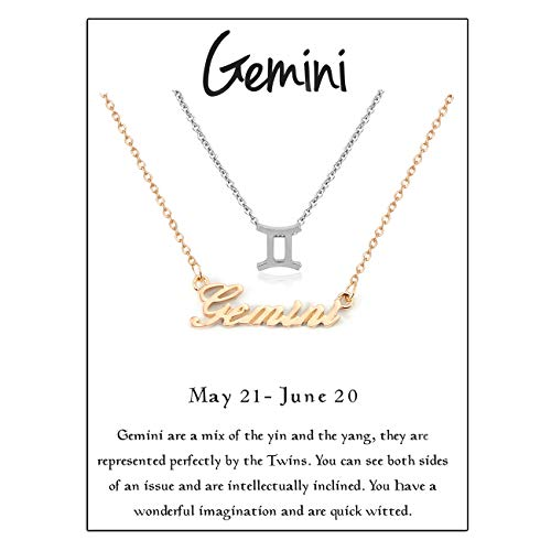 Zealmer Cyberny Women Gold & Silver Plated Gemini & Sign Necklace (Pack of 2)