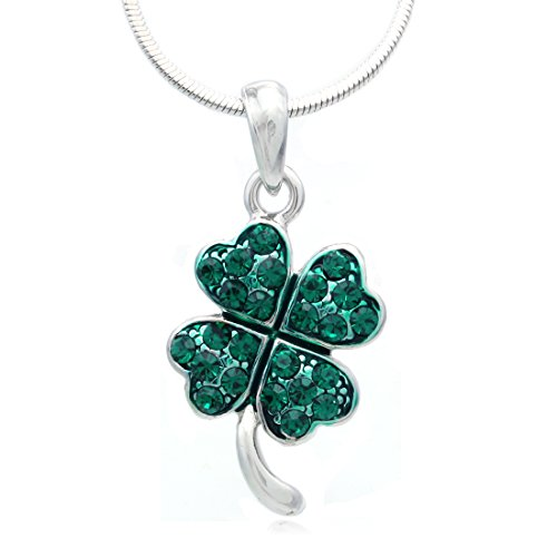 SoulBreezeCollection St. Patrick's Day Irish Good Luck Charm Green Shamrock Four Leaf Clover Necklace Pendant (Dark Green)