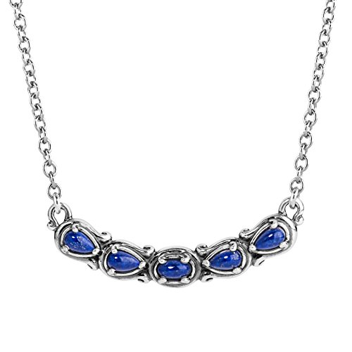 Carolyn Pollack Sterling Silver blue Lapis Gemstone 5 Stone Necklace 16 to 18 Inch
