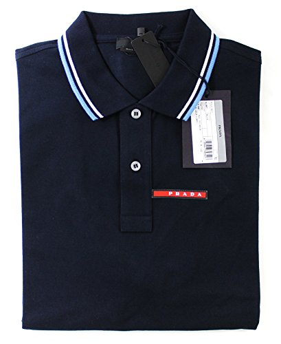 Prada Men's Cotton Piqué Short Sleeve Slim Fit Polo Shirt, Navy SJJ887 - White Prada Polo