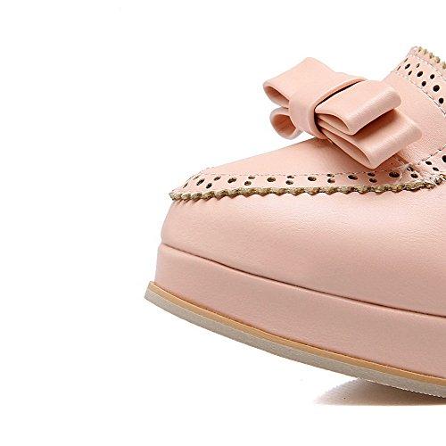 Amoonyfashion Womens Ronde Gesloten Teen Pull Op Pu Stevige Hoge Hakken Pumps-schoenen Roze