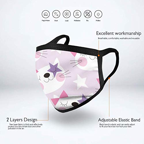 Fashion Earloop Face Masks, Anti-Dust Pollenm Smog Face and Nose Cover with Adjustable Elastic Strap, Cute Star Cat Medical Mask