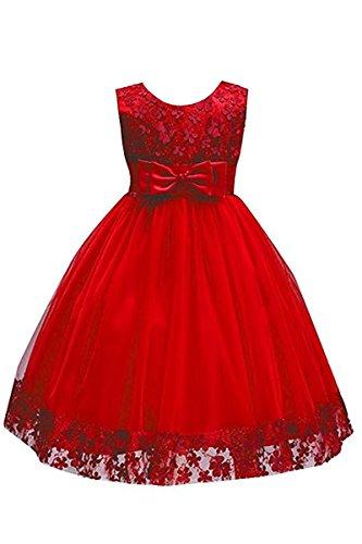Merletto Yming Da Del Partito Poco Da A Rosso Abito Da Ragazze Vestito Vestito Fiori Sposa Ballo Di Grandi Bowknot wEwxOFr7q