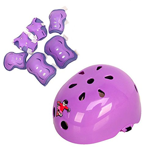 Review Set of 7 Kids Children's Roller Skating Safeguard Sports Support Pads – Knee Pads Elbow Pads Wrister Bracers Safety Helmet Protection Gear for Skateboard Bicycle (Purple, Small 3-5 years old)