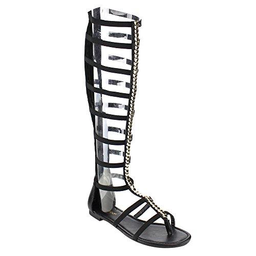 Gladiator Platform - Bamboo Candice 50M Flat Caged Gladiator Sandals Black 9