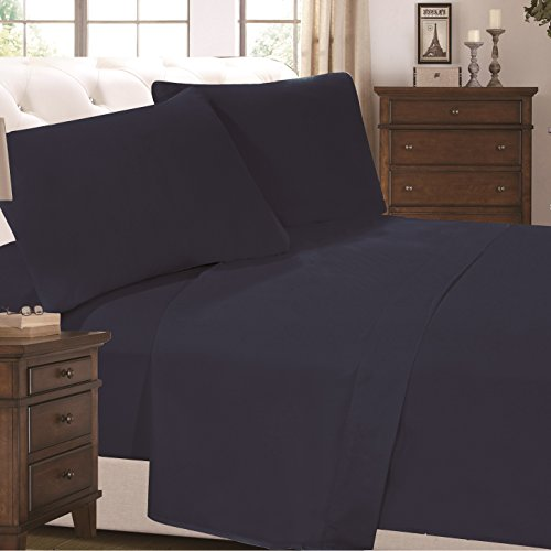 4 Piece Super Soft Luxurious Comfortable Bed Sheet Set (Twin, Dark Blue) by Cheer Collection