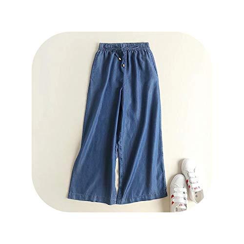 (Spring High Waist Wide Leg Pants Women Befree Sashes Vintage Trousers Loose Harem Korean Pant,Blue,S)