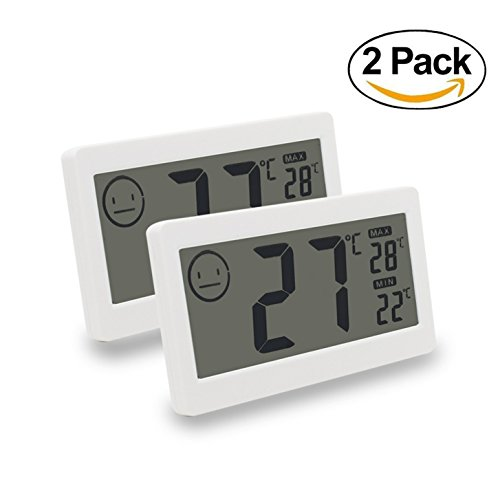 Fliiners Mini Digital Thermometer Hygrometer Temperature Humidity Meter Display with LCD Monitor Indoor Household Office Gym Kitchen etc White (2 Pack)