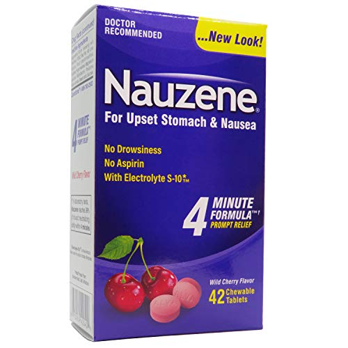 Nauzene Upset Stomach & Nausea Relief Chewable Tablets Wild Cherry Flavor - 42 - Chewable Cherry Medicine