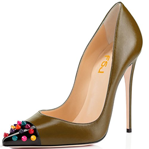 4 Toe Pumps Shoes Pointed Heels for with Stylish 15 High Tan FSJ Rivets Size Studded Women US gwqOYn1