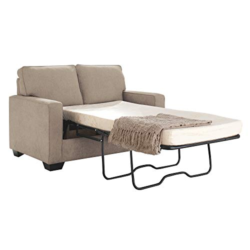 Signature Design by Ashley - Zeb Twin Size Mattress Contemporary Sleeper Sofa, Quartz (Loveseat Sofa Cottage Style)